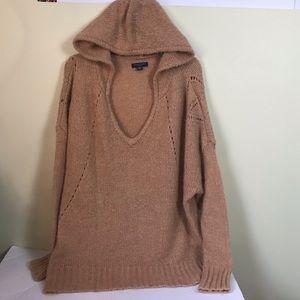 American Eagle Oversized Hood Hoodie Camel Sweater Wool Blend NWOT